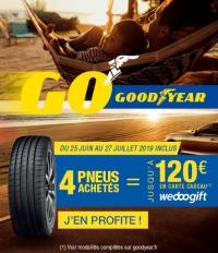 Chez 100% Pneu Croisy-sur-Andelle, promotion sur les pneus Goodyear ou Dunlop du 25 juin au 27 juillet 2019 inclus